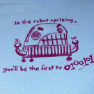 Angry Robot, lino-printed light blue t-shirt