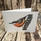 Nuthatch greetings card - blank