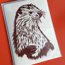 Otter greetings card - blank