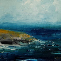 CORNWALL COAST Abstract oil painting landscape, original abstract seascape,