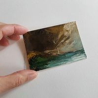 DARK STORM- Original oil miniature painting- ACEO art- ATC collectable