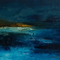 BEACH AT NIGHT Abstract oil painting landscape, original abstract seascape,