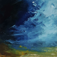 A DARK BLUE SKY Abstract oil painting landscape, original abstract seascape,