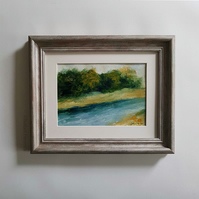 DOWNSTREAM Abstract oil painting landscape, original abstract seascape,