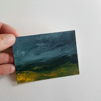 IN THE HIGHLANDS Original oil miniature painting- ACEO art- ATC