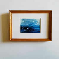 ROUGH SEAS, Original oil miniature painting- ACEO art- ATC collectable