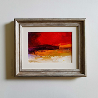 FIERY RED SKY, Abstract oil painting landscape, original abstract