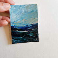 HIGH TIDE II, Original oil miniature painting- ACEO art- ATC collectable
