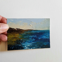 LOW TIDE IN CORNWALL, Original oil miniature painting- ACEO art- ATC collectable