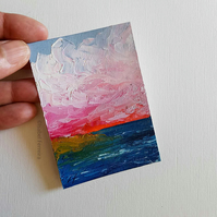 TROPICAL SUNSET, Original oil miniature painting- ACEO art- ATC collectable
