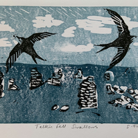 Swallows Hand Printed Lino Cut  card ORIGINAL PRINT