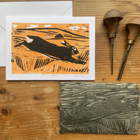 Carrock Hare Hand Printed Lino Cut  card ORIGINAL PRINT