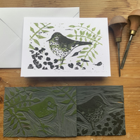Song Thrush Hand Printed Lino Cut  card ORIGINAL PRINT