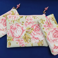 Pink Roses Make up bag set with Glasses Case and Coin Purse 186E