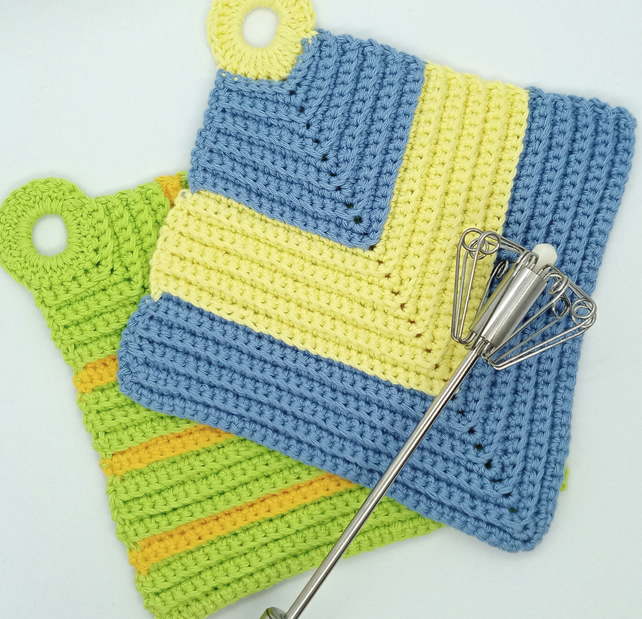 Mix and match crochet pot holders