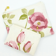 Butterfly and Roses Make up bag and coin purse set 233E