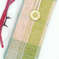 Check Wool Glasses Case 242E