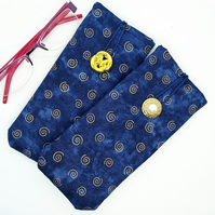 Navy with gold swirl Glasses Case