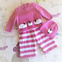 Hand Knitted Baby Outfit featuring fluffy sheep