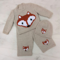 Hand Knitted Baby Outfit featuring foxes