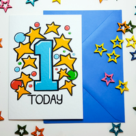 1 ONE TODAY Birthday Card for One Year Old Baby Son Nephew Grandson