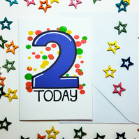 2 TWO TODAY Birthday Card for Two Year Old Baby Son Nephew Grandson in Blue