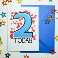 2 TWO TODAY Birthday Card Blue & Red for Two Year Old Baby Son Nephew Grandson