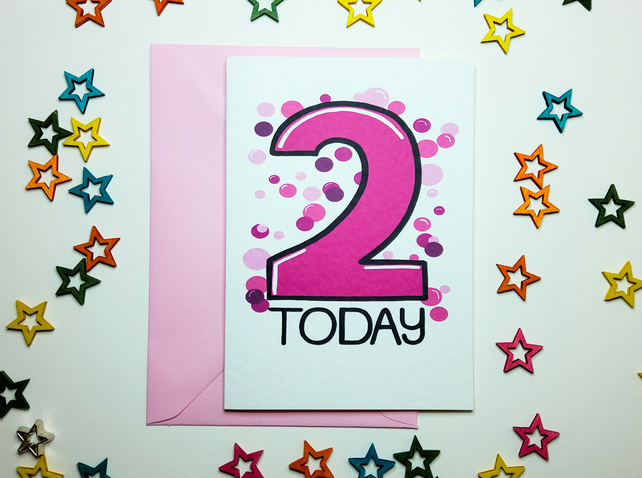 2 TWO TODAY Birthday Card Pink for Baby Daughter Niece Granddaughter Toddler