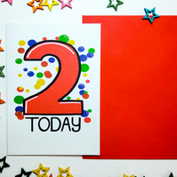 2 TWO TODAY Birthday Card in Red for Two Year Old Child Grandchild Niece Nephew