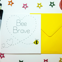 BEE BRAVE handmade card - Inspirational - New Job - Empathy - New Start -Divorce