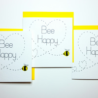 Bee Happy PACK of 3x handmade cards, Love, Engagement, Wedding, Anniversary