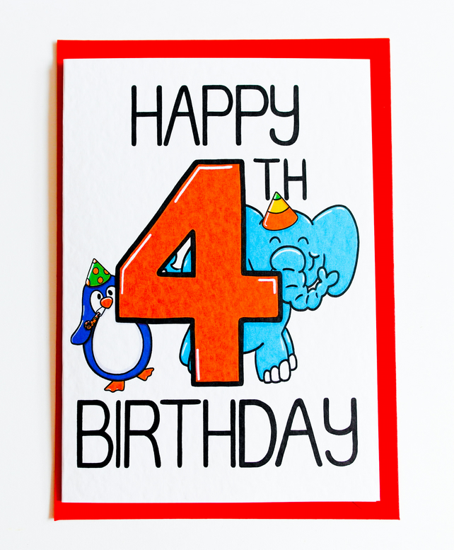 Happy 4th Birthday card, cute animal Birthday Card for 4 year old Boy or Girl 1
