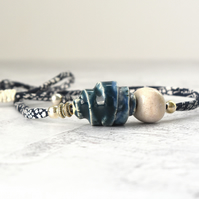 Handmade Ceramic Necklace - clay beads with silver on Liberty band