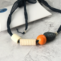 Hand-formed Ceramic Bead Necklace with Silk Ribbon
