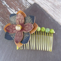 Leather Flower Hair Comb, Large Flower Hair Comb