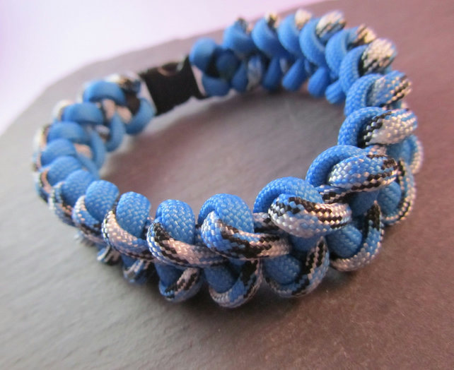 Light Blue Paracord Bracelet, Shark Jaw Bone Bracelet