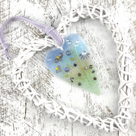 Fused Glass Heart with Lilac & Purple Flowers  in Wicker Hanging Heart on Ribbon