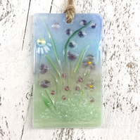 Pretty Glass Light Catcher with Pink & Purple Flowers Design