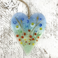 Glass Meadow Heart with Delicate Wild Flowers