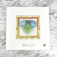 Card 'With Love' with Detachable Glass Meadow Heart