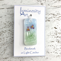 Glass Bookmark or Light Catcher with Pink Flowers