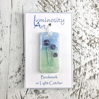 Glass Bookmark or Light Catcher with Purple Flowers