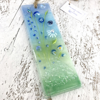 Pretty Glass Light Catcher - Blue Meadow Flower Design