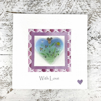 With Love Card with Detachable Glass Meadow Heart