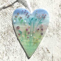 Glass Meadow Heart with Delicate Pink & Purple Flowers