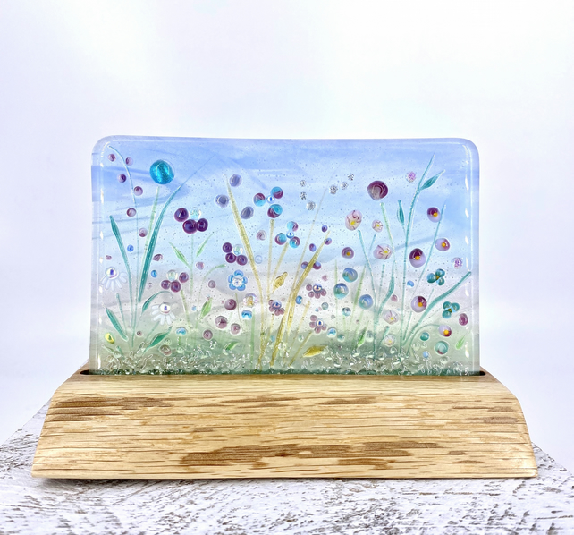 Delicate Glass Meadow in a Hand crafted Oak Tea Light Holder