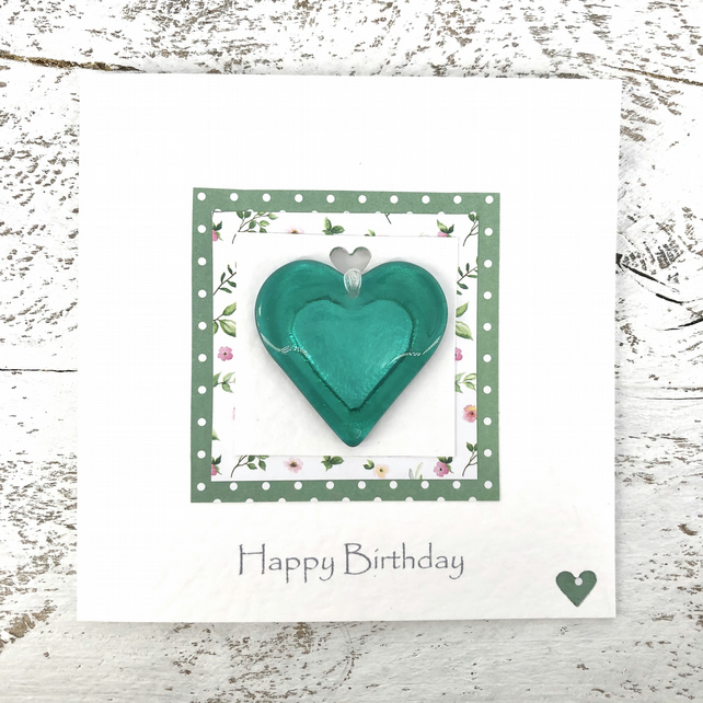 Birthday Card with Detachable Green Glass Heart