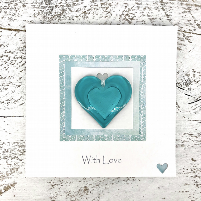 With Love Card with Detachable Turquoise Glass Heart
