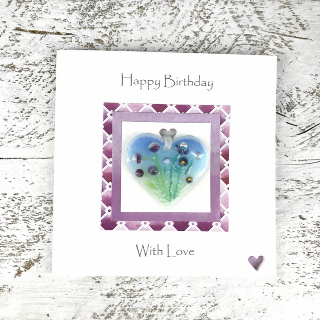 Birthday Card with Detachable Glass Meadow Heart