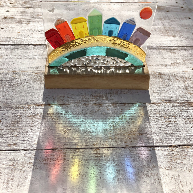 Fused Glass Rainbow Seaside Town set in Handcrafted Ash